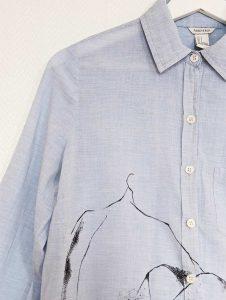 chemise bleu customisée manches longues