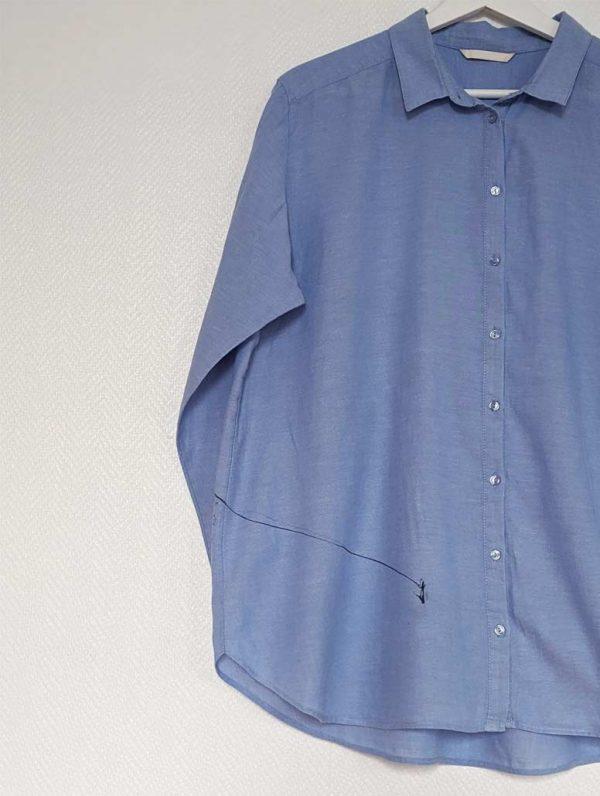 chemise unie bleue customisée manches longues